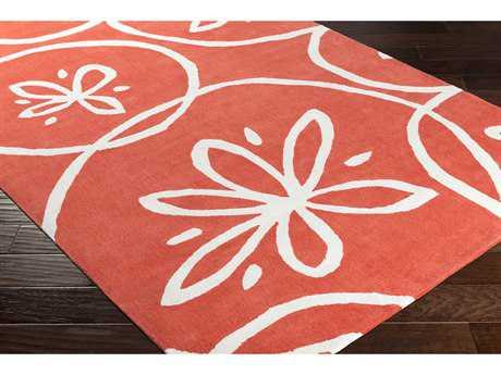 Surya Opera Rectangular Bright Orange & Ivory Area Rug