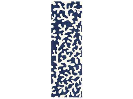 Surya Opera 2'6'' x 8' Rectangular Dark Blue & Ivory Runner Rug