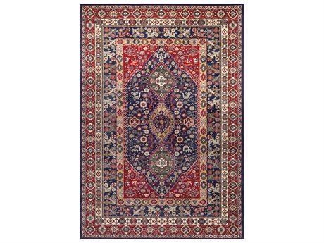 Surya Perseus Rectangular Dark Red, Navy & Butter Area Rug