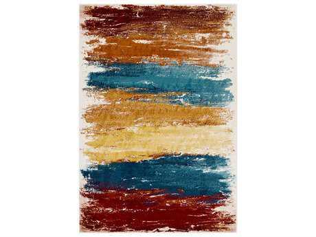 Surya Pepin Rectangular Aqua, Burnt Orange & Dark Red Area Rug