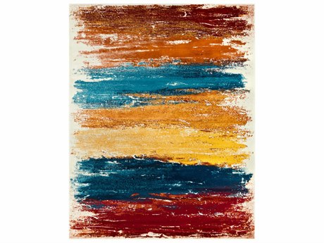 Surya Pepin Rectangular Aqua, Burnt Orange & Dark Red Area Rug