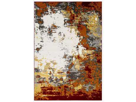 Surya Pepin Rectangular Charcoal, Burnt Orange & Dark Red Area Rug