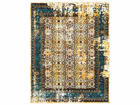 Surya Pepin Rectangular Mustard, Aqua & Dark Red Area Rug