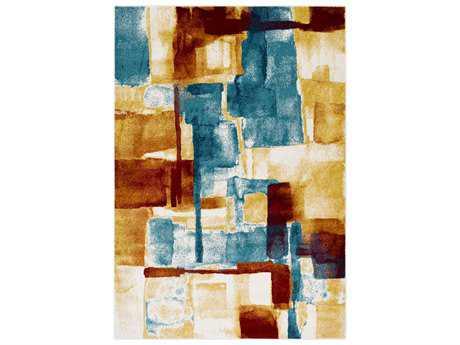 Surya Pepin Rectangular Mustard, Aqua & Bright Blue Area Rug