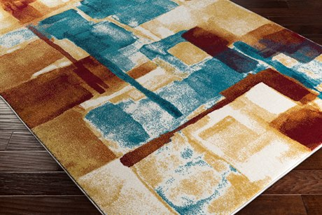 Surya Pepin Rectangular Mustard, Aqua & Bright Blue Area Rug