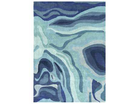 Surya Pigments Rectangular Teal, Violet & Silver Gray Area Rug