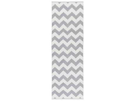 Surya Picnic 2'6'' x 8' Rectangular Medium Gray & White Runner Rug