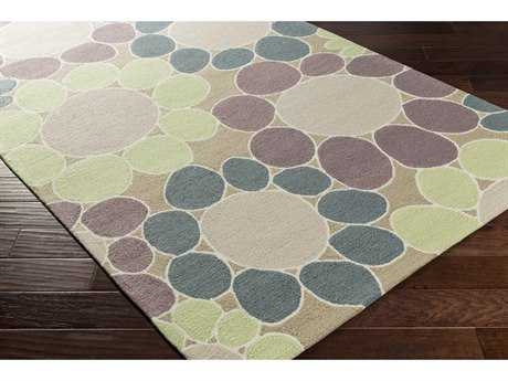 Surya Peek-A-Boo Rectangular Mauve, Moss & Denim Area Rug