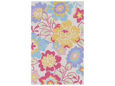 Surya Peek-A-Boo Rectangular Bright Yellow, Bright Pink & Sky Blue Area Rug