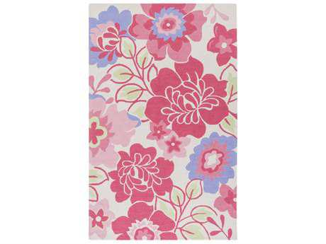 Surya Peek-A-Boo Rectangular Bright Pink, Bright Purple & Grass Green Area Rug