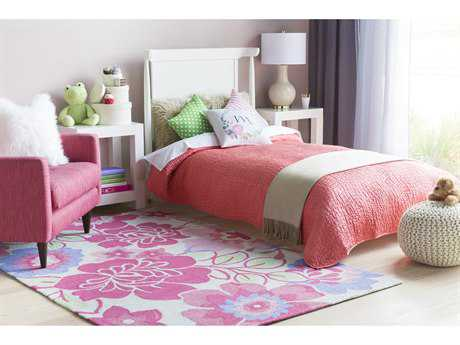 Surya Peek-A-Boo Rectangular Bright Pink, Bright Purple & Grass Green Area Rug