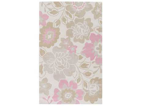 Surya Peek-A-Boo Rectangular Rose, Khaki & Light Gray Area Rug