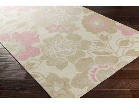 Surya Peek-A-Boo Rectangular Rose, Khaki & Light Gray Area Rug