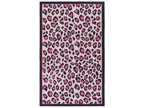 Surya Peek-A-Boo Rectangular Bright Pink, Blush & Navy Area Rug