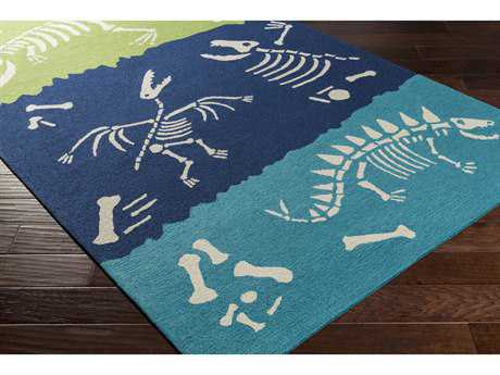 Surya Peek-A-Boo Rectangular Aqua, Dark Blue & Grass Green Area Rug