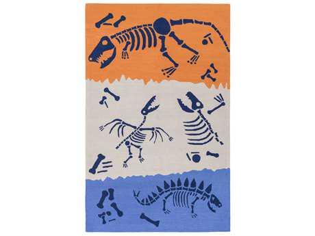 Surya Peek-A-Boo Rectangular Bright Blue, Khaki & Bright Orange Area Rug