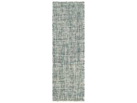 Surya Plymouth 2'6'' x 8' Rectangular Teal, Aqua & Cream Runner Rug