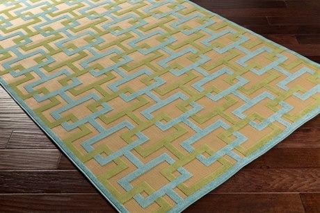 Surya Portera 2'6'' x 7'10'' Rectangular Aqua, Dark Green & Khaki Runner Rug