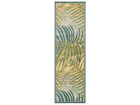 Surya Portera 2'6'' x 7'10'' Rectangular Sky Blue, Dark Green & Aqua Runner Rug