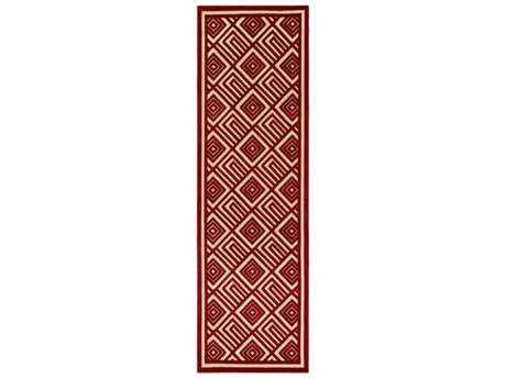 Surya Portera 2'6'' x 7'10'' Rectangular Dark Red & Khaki Runner Rug