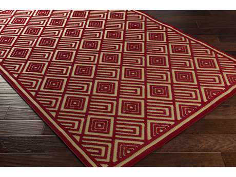 Surya Portera 2'6'' x 7'10'' Rectangular Dark Red & Khaki Runner Rug