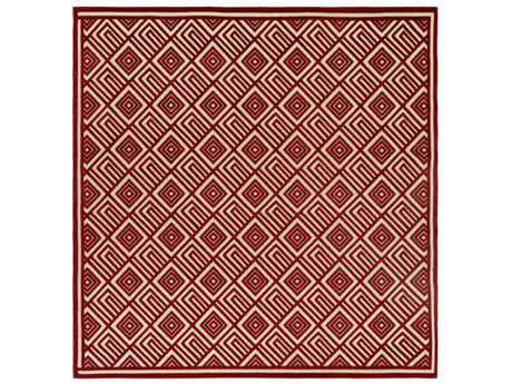 Surya Portera 7'6'' Square Dark Red & Khaki Area Rug
