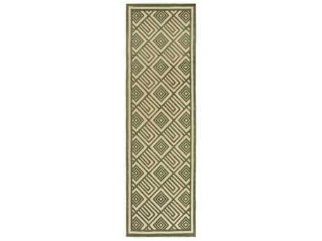 Surya Portera 2'6'' x 7'10'' Rectangular Dark Green & Khaki Runner Rug