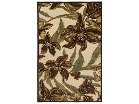 Surya Portera Rectangular Rust, Dark Green & Camel Area Rug