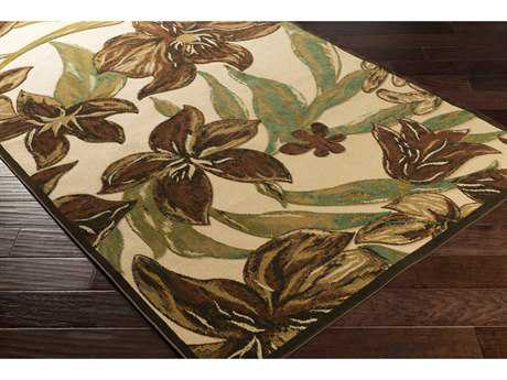 Surya Portera 2'6'' x 7'10'' Rectangular Rust, Dark Green & Camel Runner Rug