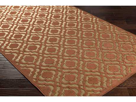 Surya Portera 2'6'' x 7'10'' Rectangular Rust & Tan Runner Rug