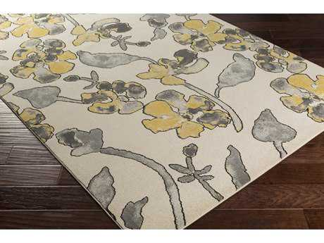 Surya Priyanka Rectangular Charcoal, Bright Yellow & Khaki Area Rug
