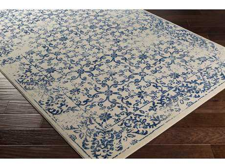 Surya Priyanka Rectangular Navy, Dark Blue & Beige Area Rug