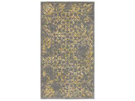 Surya Priyanka Rectangular Charcoal, Bright Yellow & Khaki Area Rug