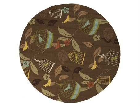 Surya Rain 8' Round Brown Area Rug