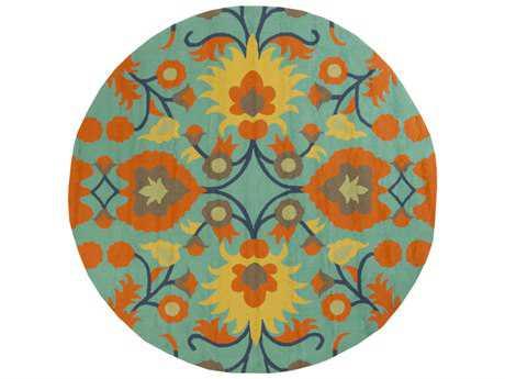 Surya Rain 8' Round Bright Orange, Emerald & Lime Area Rug