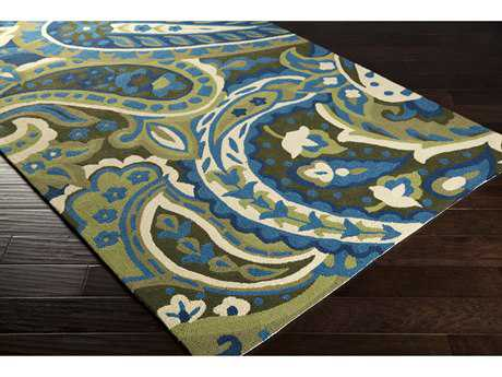 Surya Rain Rectangular Lime, Bright Blue & Dark Green Area Rug