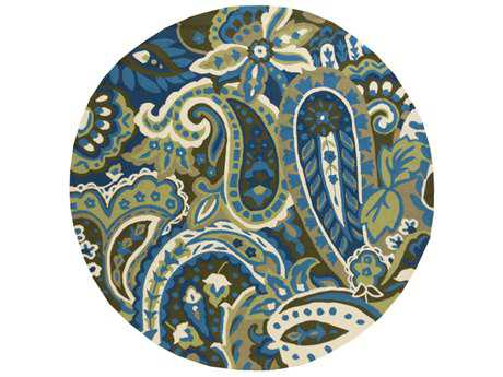 Surya Rain 8' Round Lime, Bright Blue & Dark Green Area Rug