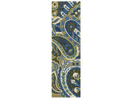 Surya Rain 2'6'' x 8' Rectangular Lime, Bright Blue & Dark Green Runner Rug