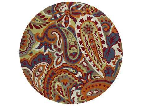 Surya Rain 8' Round Dark Red, Coral & Sage Area Rug