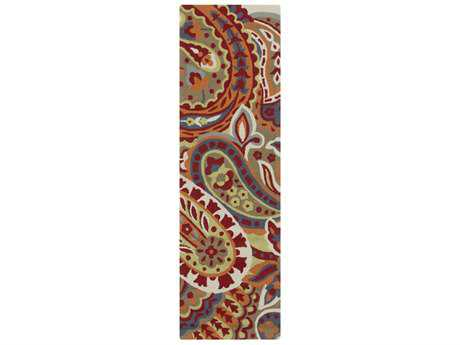 Surya Rain 2'6'' x 8' Rectangular Dark Red, Coral & Sage Runner Rug