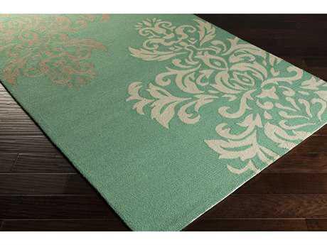 Surya Rain Rectangular Emerald, Tan & White Area Rug