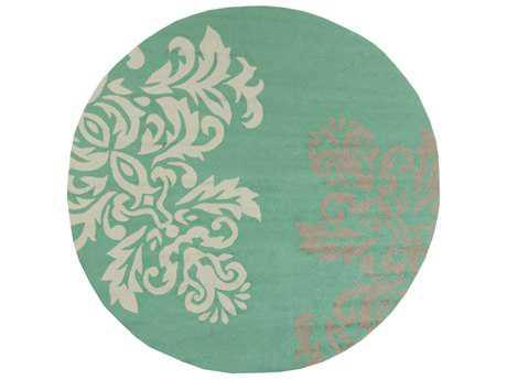 Surya Rain 8' Round Emerald, Tan & White Area Rug