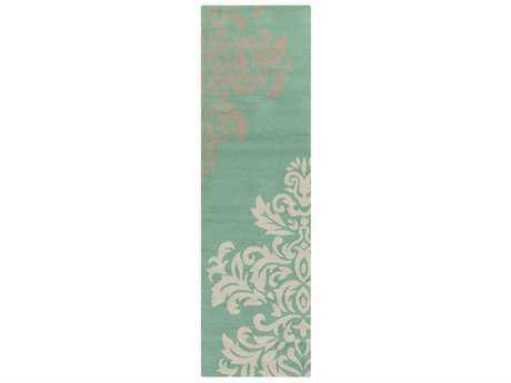 Surya Rain 2'6'' x 8' Rectangular Emerald, Tan & White Runner Rug