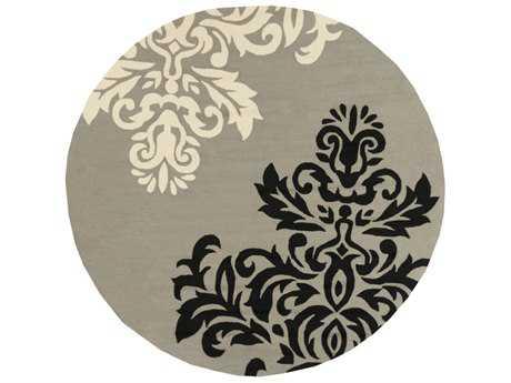 Surya Rain 8' Round Medium Gray, Black & Cream Area Rug