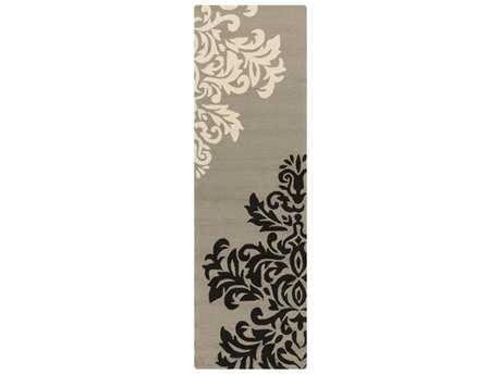 Surya Rain 2'6'' x 8' Rectangular Medium Gray, Black & Cream Runner Rug
