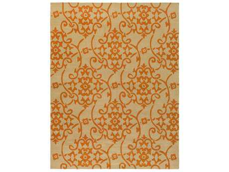 Surya Rain Rectangular Bright Orange & Tan Area Rug