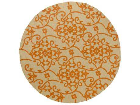 Surya Rain 8' Round Bright Orange & Tan Area Rug