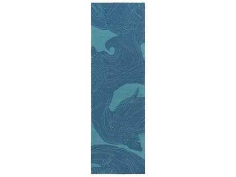 Surya Rain 2'6'' x 8' Rectangular Aqua Runner Rug