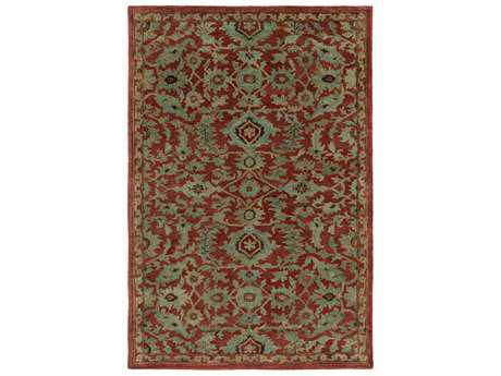 Surya Ruchika Rectangular Rust, Aqua & Dark Brown Area Rug