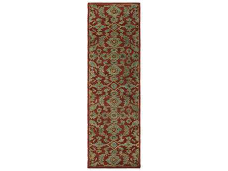 Surya Ruchika 2'6'' x 8' Rectangular Rust, Aqua & Dark Brown Runner Rug